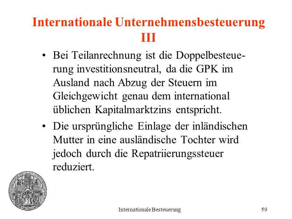 Internationale Unternehmensbesteuerung III