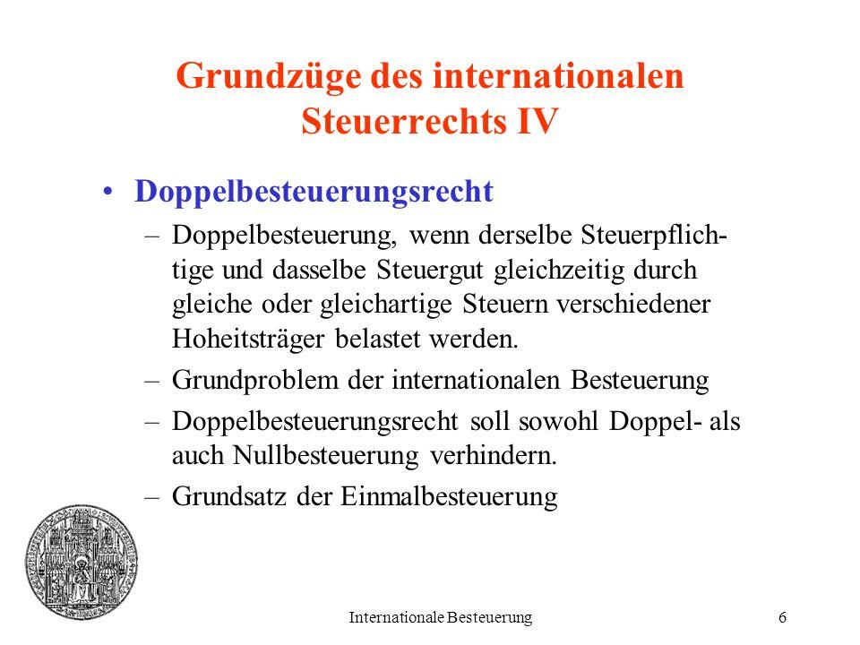 Grundzüge des internationalen Steuerrechts IV