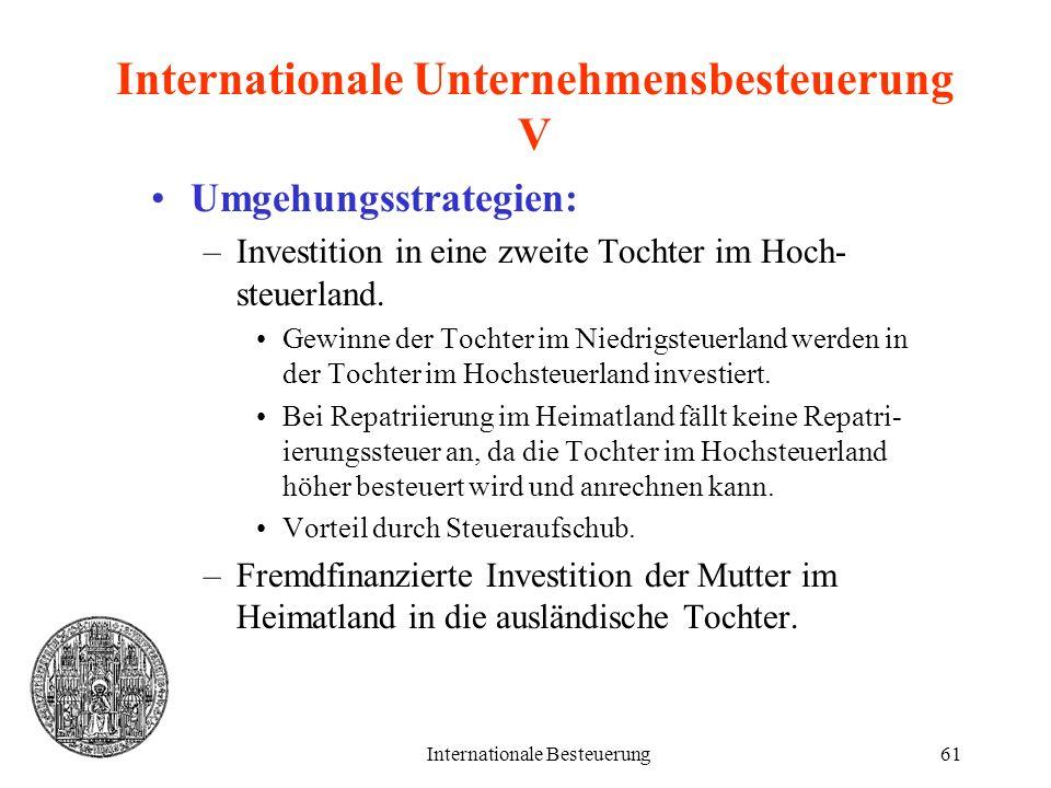 Internationale Unternehmensbesteuerung V