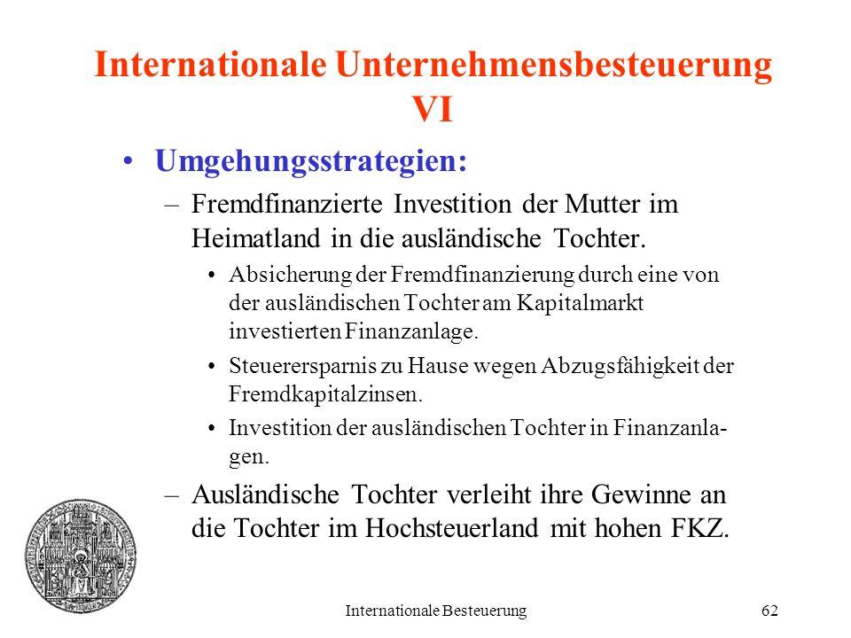 Internationale Unternehmensbesteuerung VI