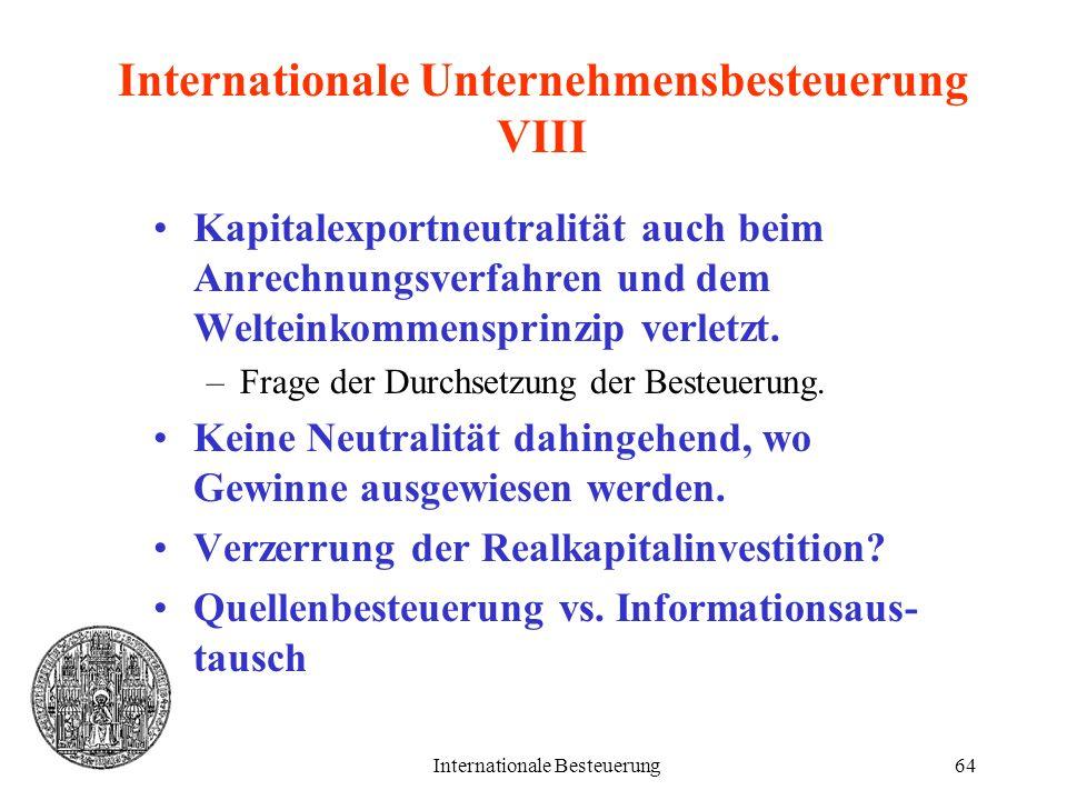 Internationale Unternehmensbesteuerung VIII