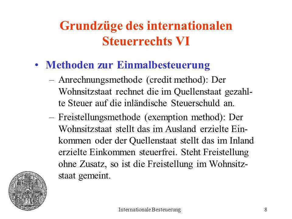 Grundzüge des internationalen Steuerrechts VI