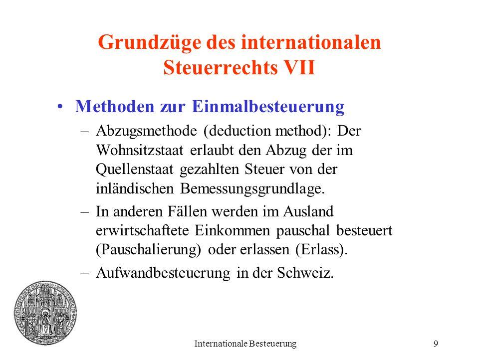 Grundzüge des internationalen Steuerrechts VII
