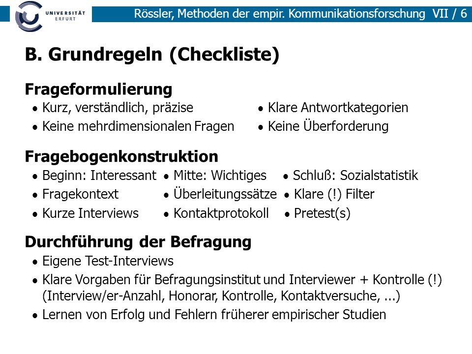 B. Grundregeln (Checkliste)