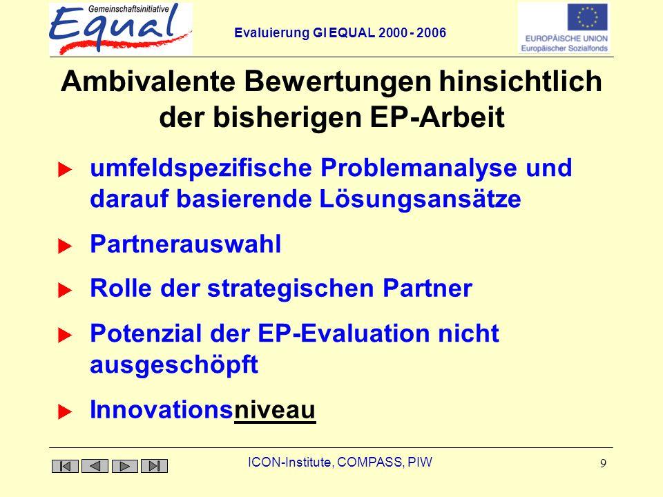 Ambivalente Bewertungen hinsichtlich der bisherigen EP-Arbeit