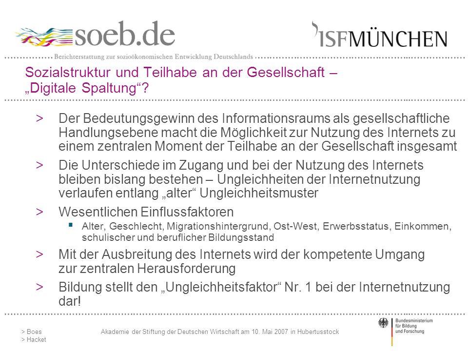 """Sozialstruktur und Teilhabe an der Gesellschaft – """"Digitale Spaltung"""