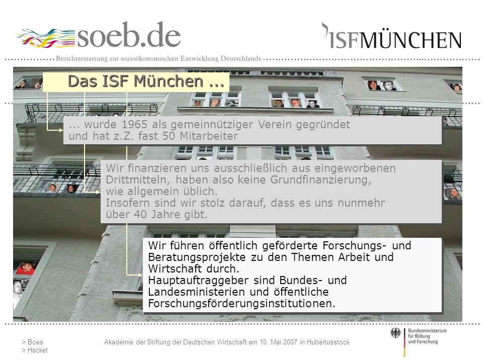 Das ISF München ... ... wurde 1965 als gemeinnütziger Verein gegründet und hat z.Z. gut 40 Mitarbeiter.