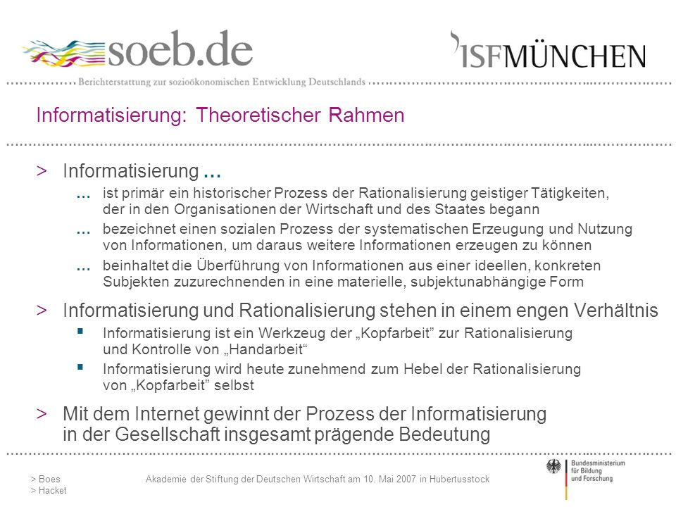 Informatisierung: Theoretischer Rahmen