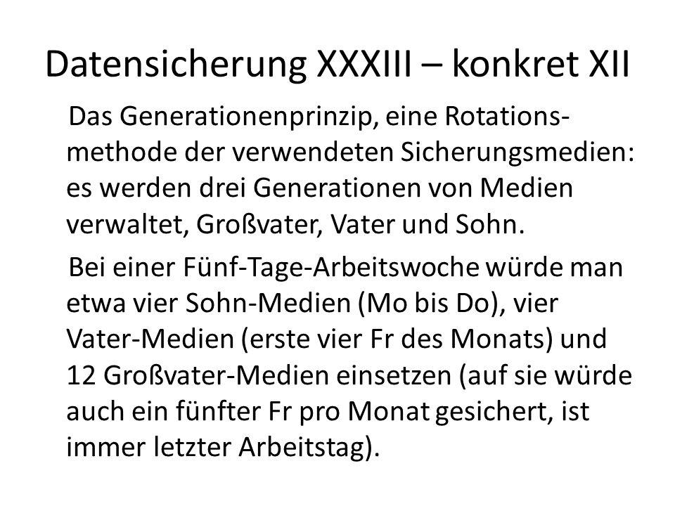 Datensicherung XXXIII – konkret XII