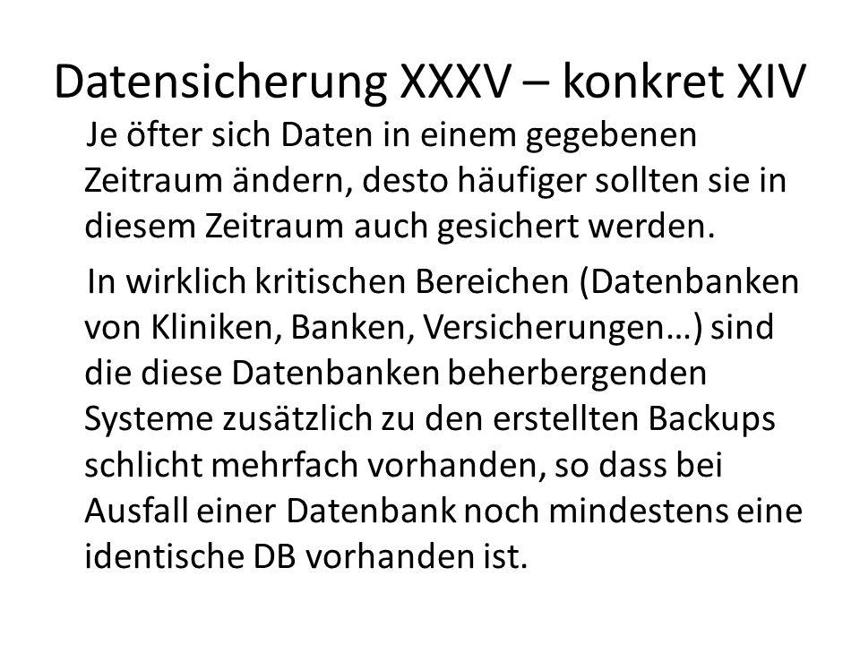 Datensicherung XXXV – konkret XIV