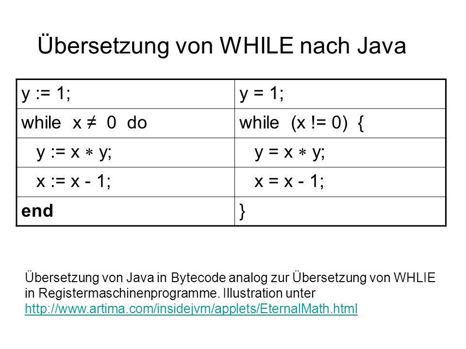 Übersetzung von WHILE nach Java