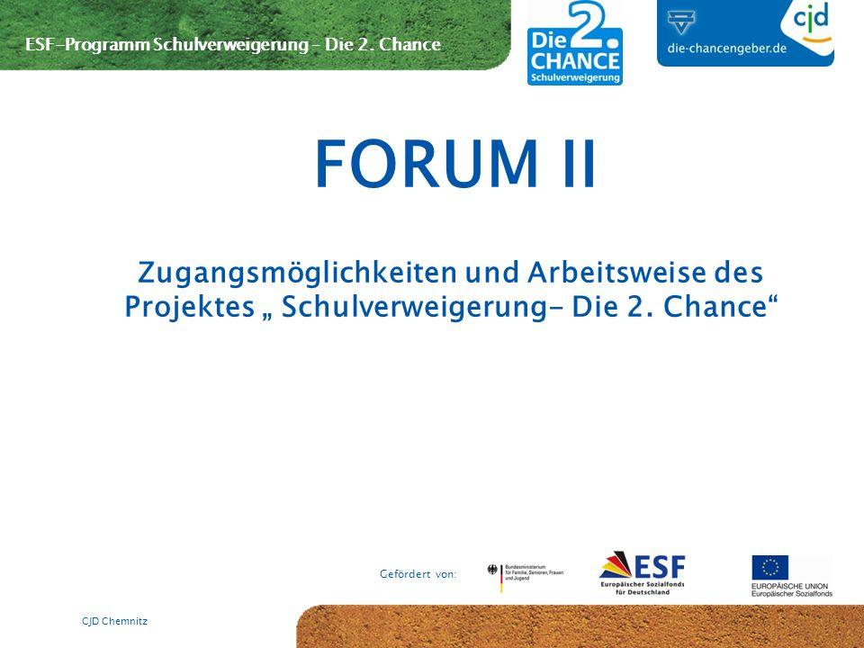 """FORUM II Zugangsmöglichkeiten und Arbeitsweise des Projektes """" Schulverweigerung- Die 2."""