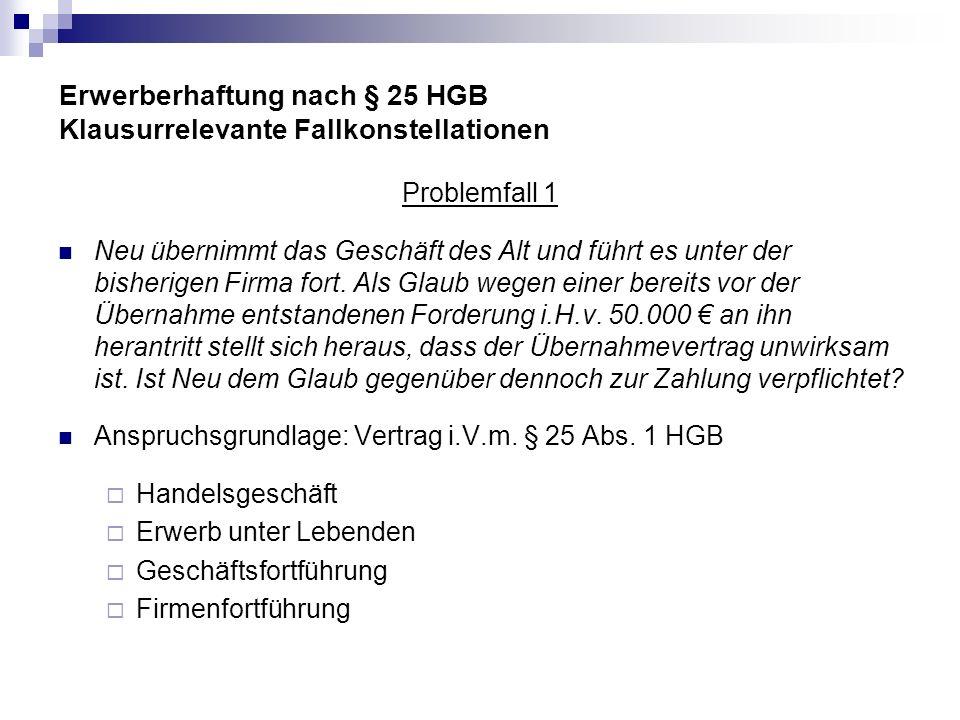 Erwerberhaftung nach § 25 HGB Klausurrelevante Fallkonstellationen