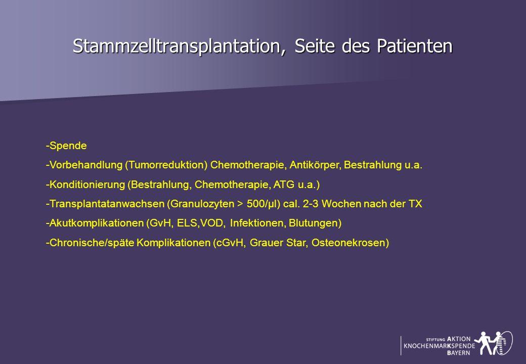 Stammzelltransplantation, Seite des Patienten