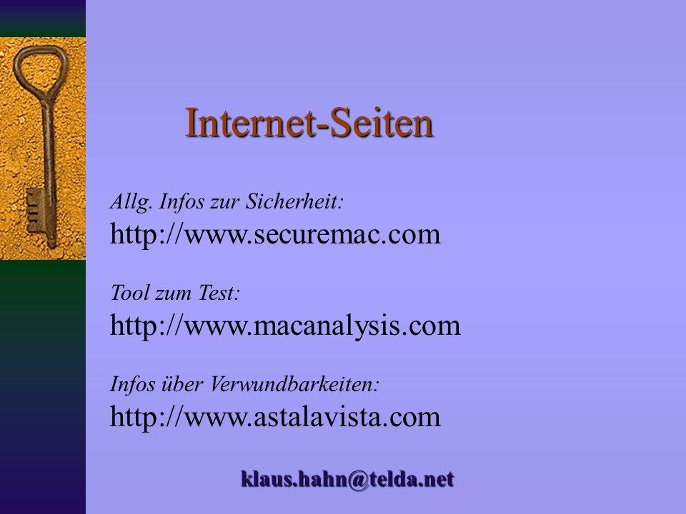 Internet-Seiten http://www.securemac.com http://www.macanalysis.com