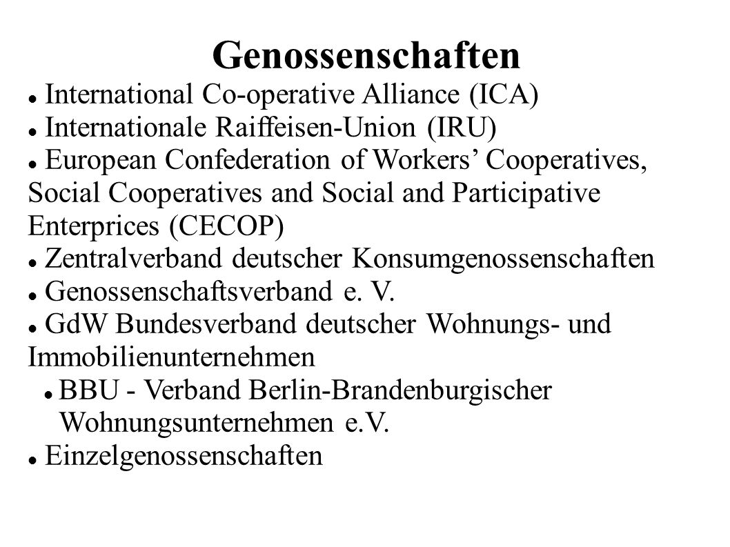 Genossenschaften International Co-operative Alliance (ICA)
