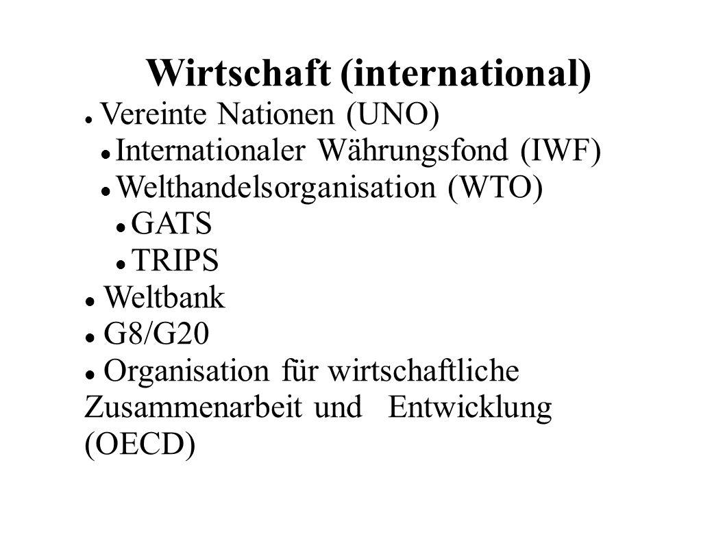 Wirtschaft (international)