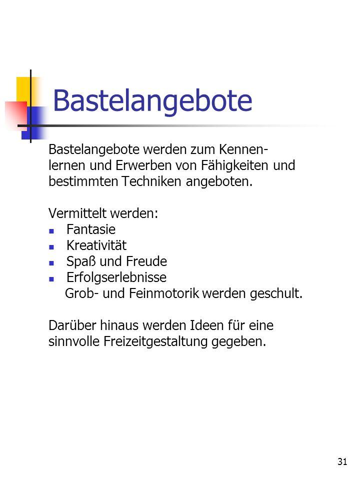 Bastelangebote Bastelangebote werden zum Kennen-