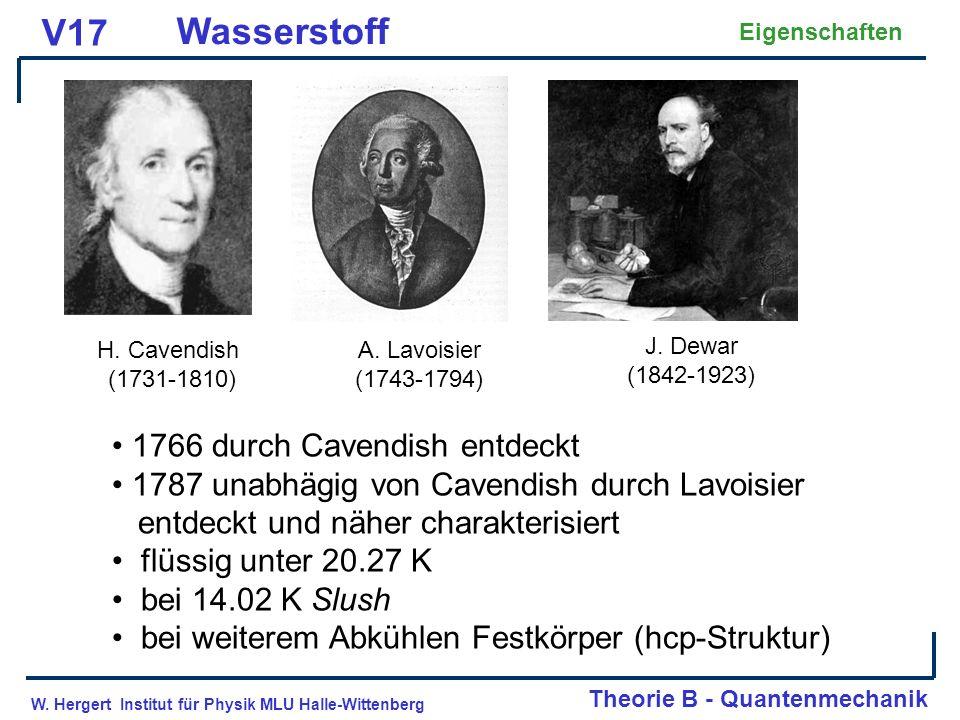 V17 Wasserstoff 1766 durch Cavendish entdeckt