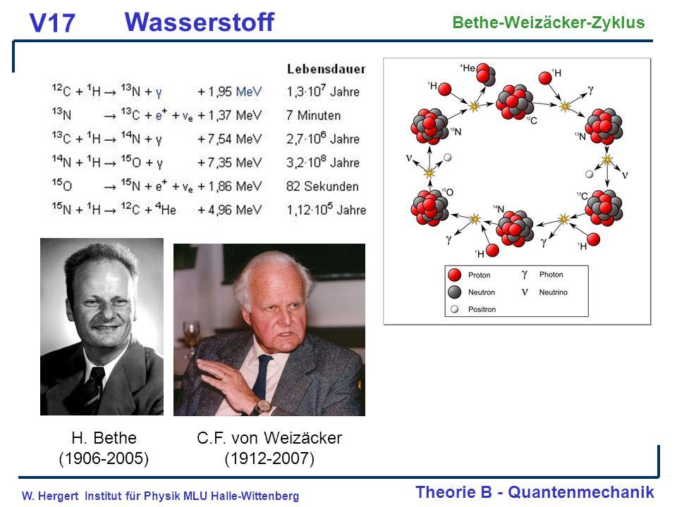 V17 Wasserstoff Bethe-Weizäcker-Zyklus H. Bethe (1906-2005)