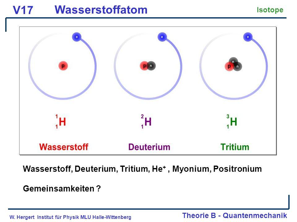 V17 Wasserstoffatom. Isotope. Wasserstoff, Deuterium, Tritium, He+ , Myonium, Positronium. Gemeinsamkeiten