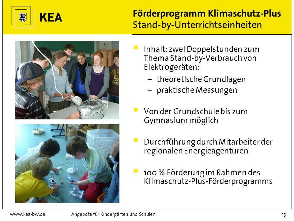 Förderprogramm Klimaschutz-Plus Stand-by-Unterrichtseinheiten