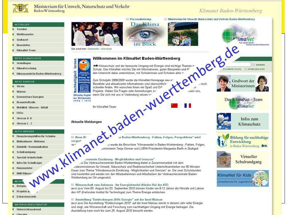 www.klimanet.baden-wuerttemberg.de KlimaNet Webseite vorstellen