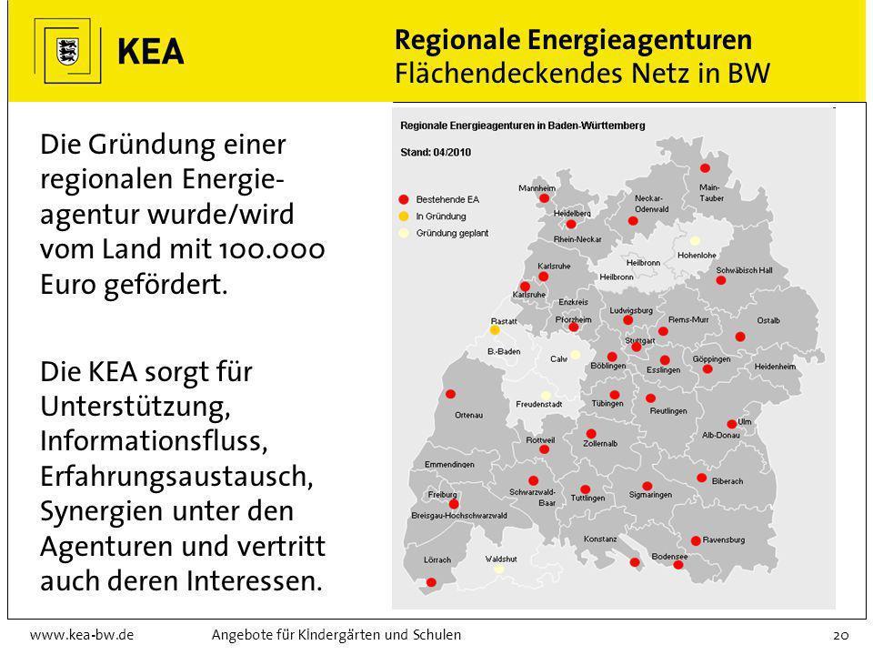 Regionale Energieagenturen Flächendeckendes Netz in BW