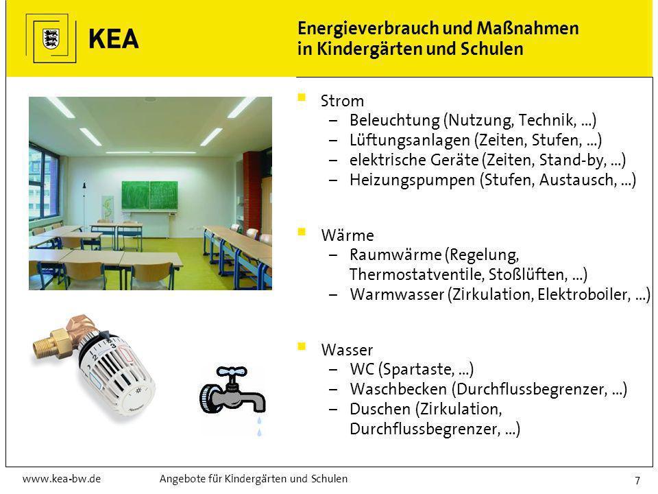 Energieverbrauch und Maßnahmen in Kindergärten und Schulen