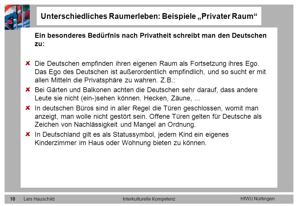 """Unterschiedliches Raumerleben: Beispiele """"Privater Raum"""