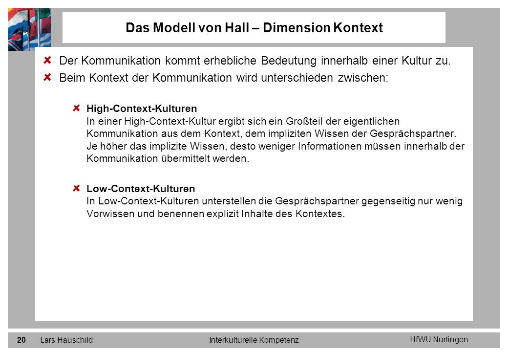 Das Modell von Hall – Dimension Kontext