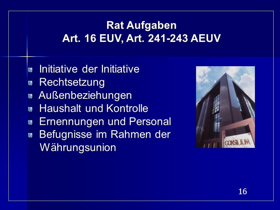 Rat Aufgaben Art. 16 EUV, Art. 241-243 AEUV. Initiative der Initiative. Rechtsetzung. Außenbeziehungen.