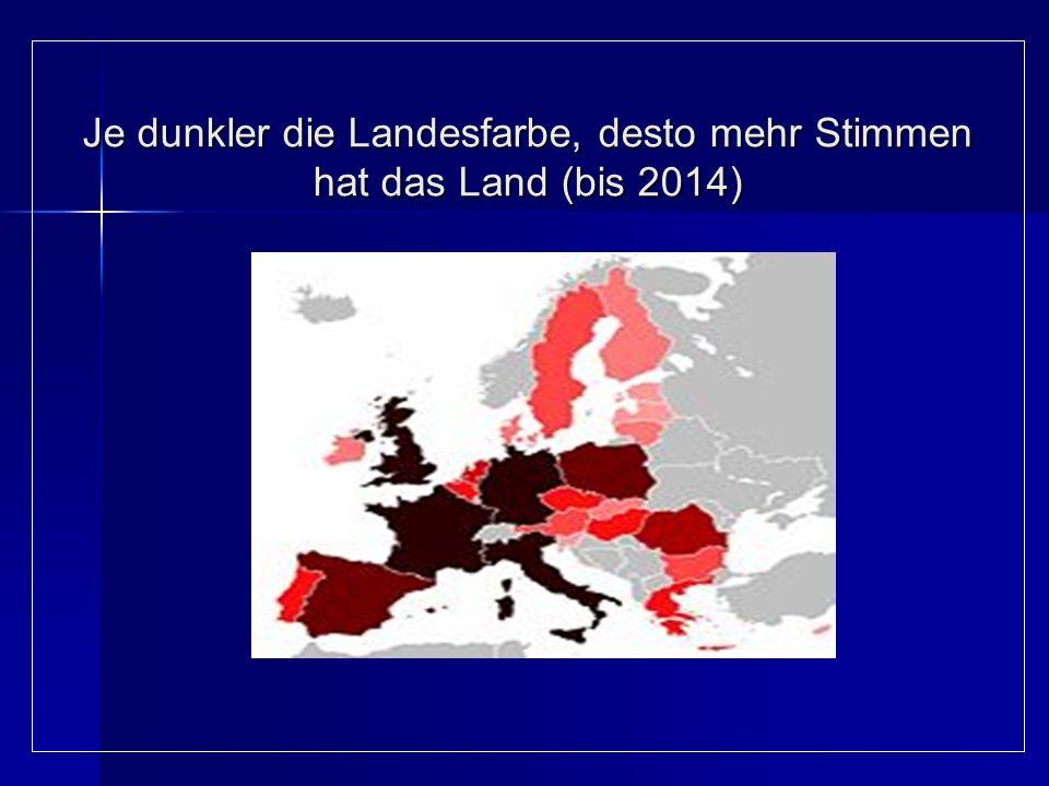 Je dunkler die Landesfarbe, desto mehr Stimmen hat das Land (bis 2014)