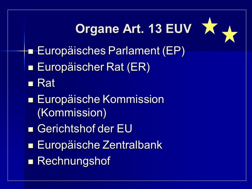 Organe Art. 13 EUV Europäisches Parlament (EP) Europäischer Rat (ER)