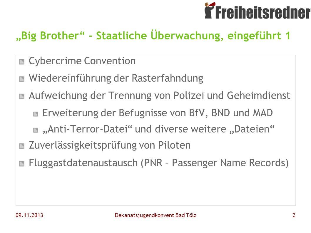 """""""Big Brother - Staatliche Überwachung, eingeführt 1"""