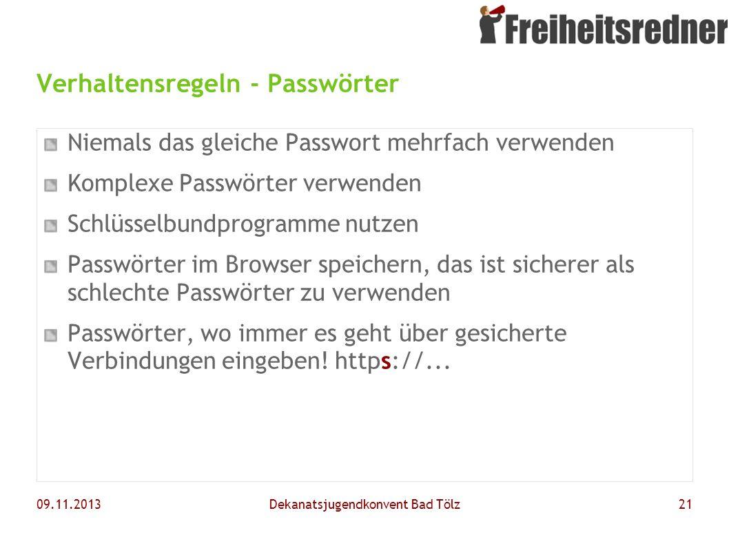 Verhaltensregeln - Passwörter