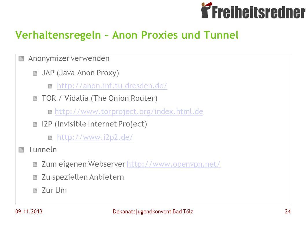 Verhaltensregeln – Anon Proxies und Tunnel