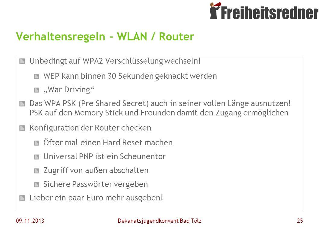 Verhaltensregeln – WLAN / Router