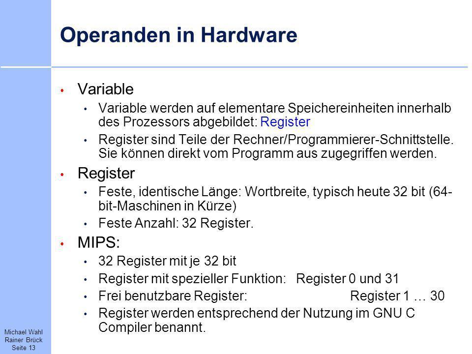 Operanden in Hardware Variable Register MIPS: