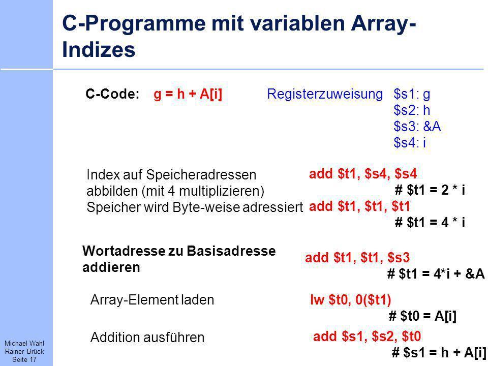 C-Programme mit variablen Array-Indizes