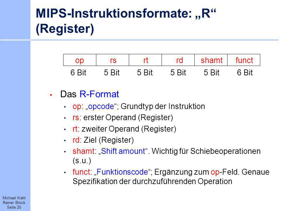 "MIPS-Instruktionsformate: ""R (Register)"