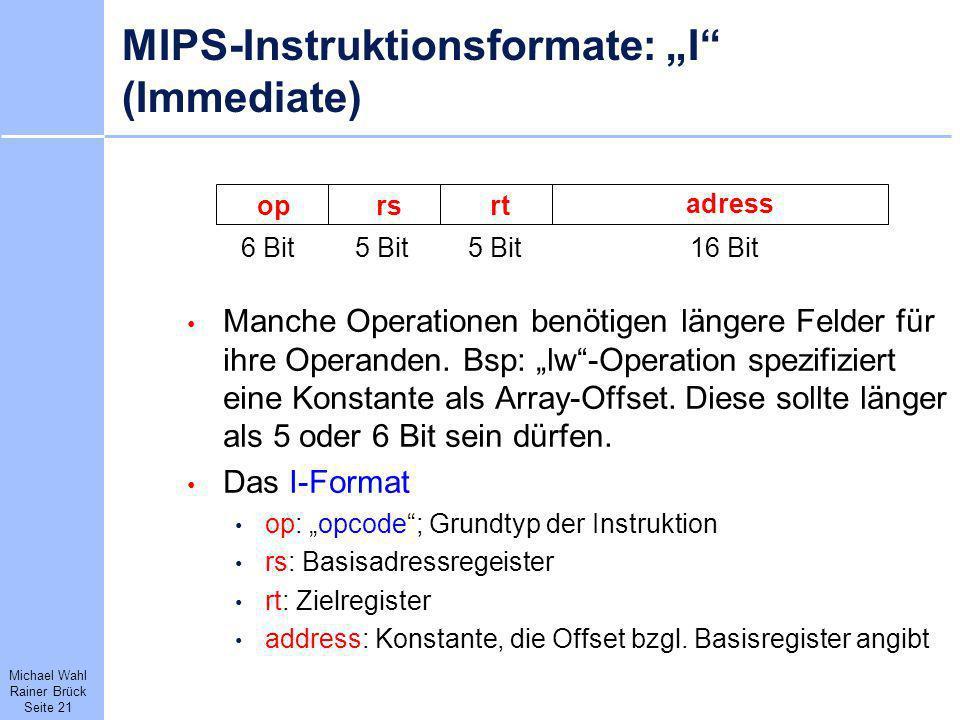 "MIPS-Instruktionsformate: ""I (Immediate)"