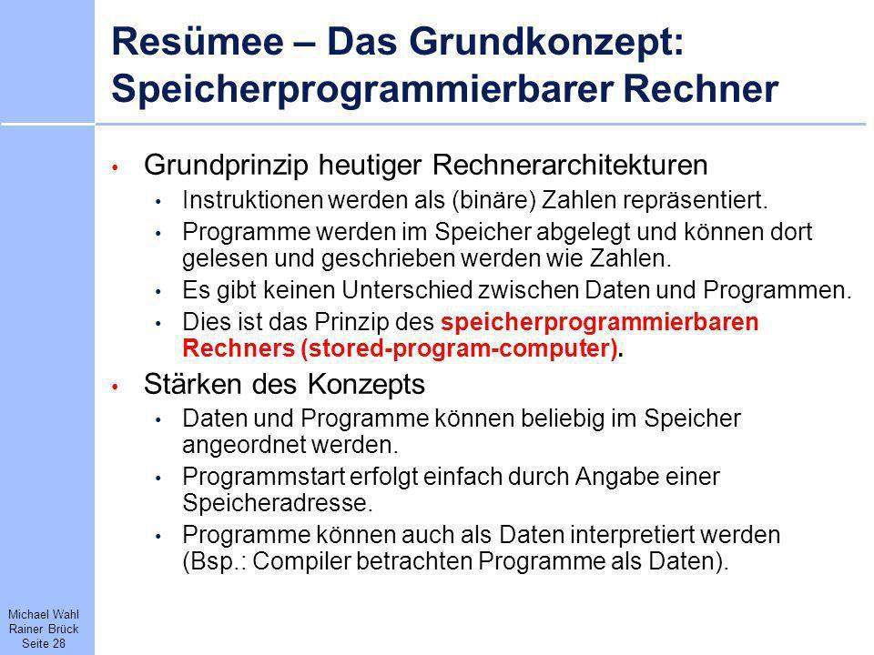 Resümee – Das Grundkonzept: Speicherprogrammierbarer Rechner