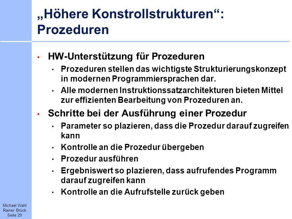 """Höhere Konstrollstrukturen : Prozeduren"