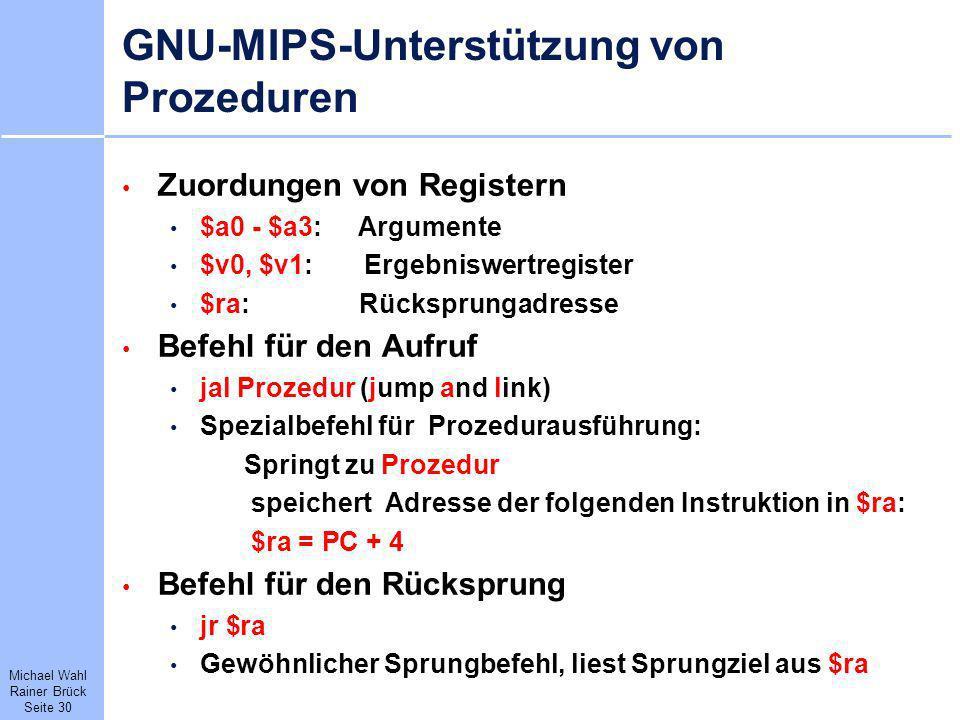 GNU-MIPS-Unterstützung von Prozeduren