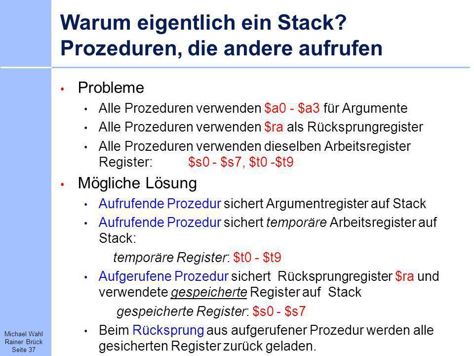 Warum eigentlich ein Stack Prozeduren, die andere aufrufen