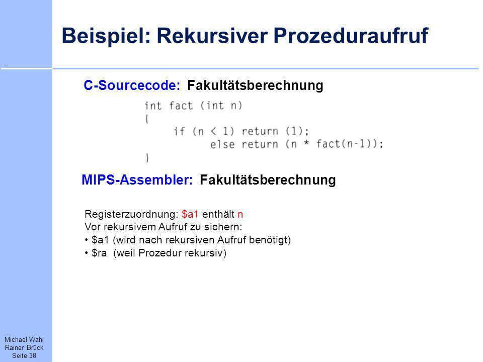 Beispiel: Rekursiver Prozeduraufruf