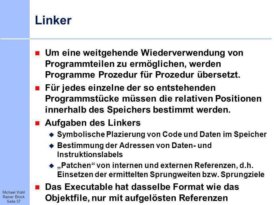Linker Um eine weitgehende Wiederverwendung von Programmteilen zu ermöglichen, werden Programme Prozedur für Prozedur übersetzt.