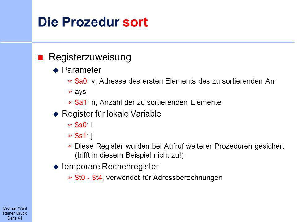Die Prozedur sort Registerzuweisung Parameter