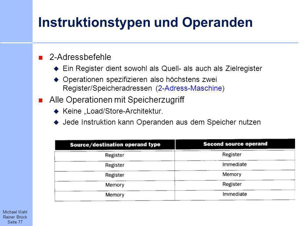 Instruktionstypen und Operanden